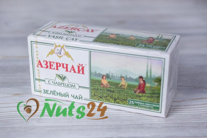 Чай Азерчай зелёный с чабрецом 25 пак.(с конвертом)