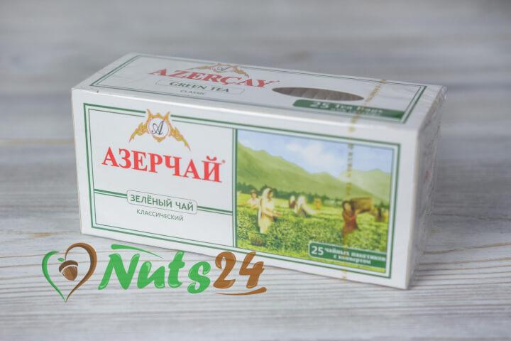 Чай Азерчай зелёный аромат. с лепестками роз  25 пак.