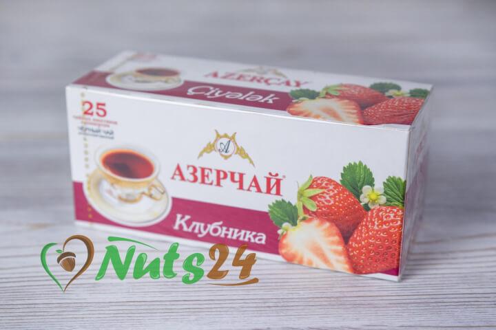Чай Азерчай чёрный аром. клубника 25 пак.(с конвертом)
